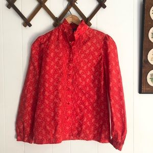 1970's Floral Paisley Red Blouse